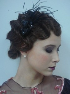 Classic finger waves with headpiece